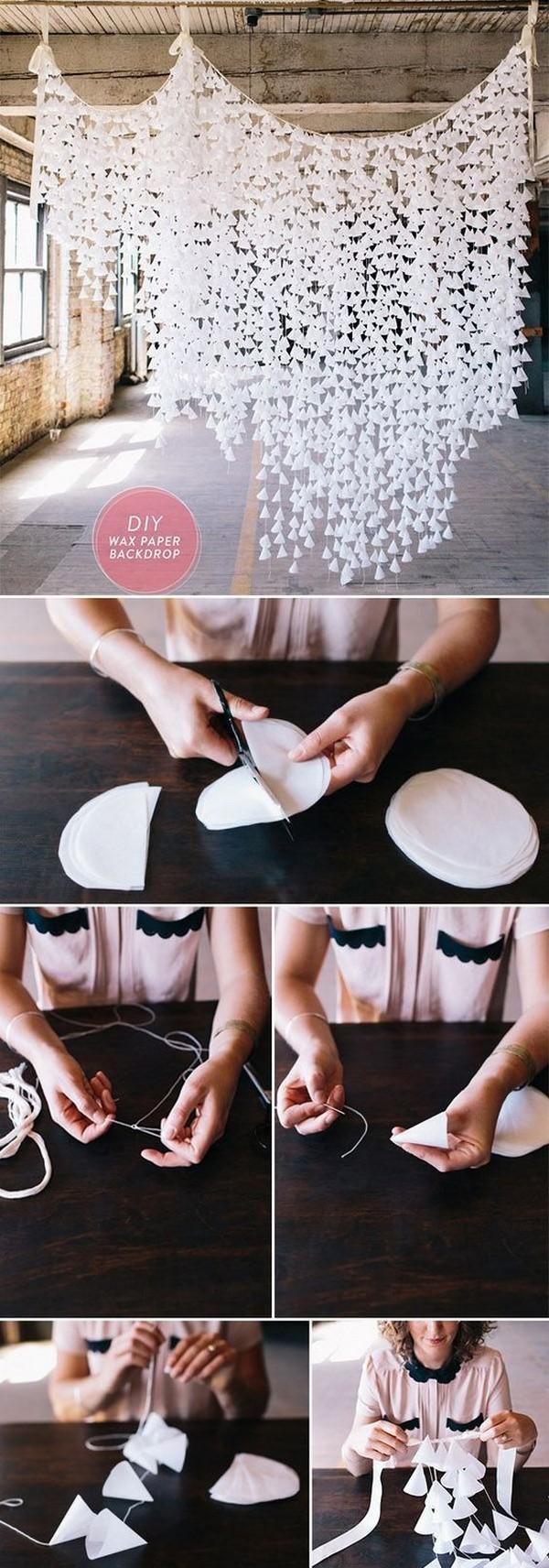 diy wax paper wedding backdrop decoration ideas
