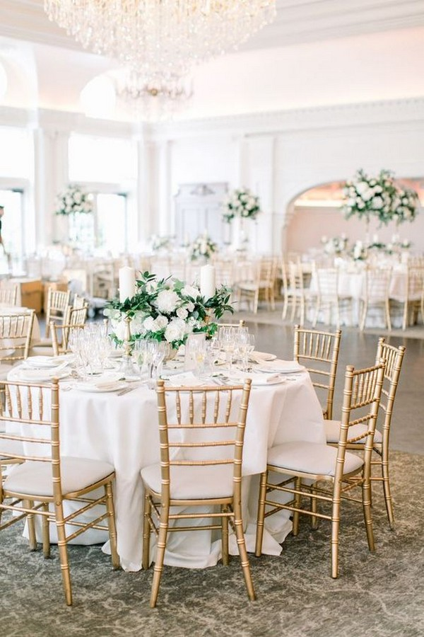elegant gold white and green wedding reception setting ideas
