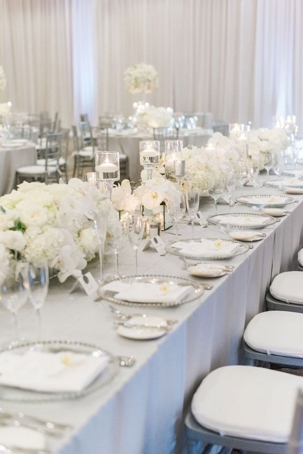 elegant silver and white wedding reception ideas