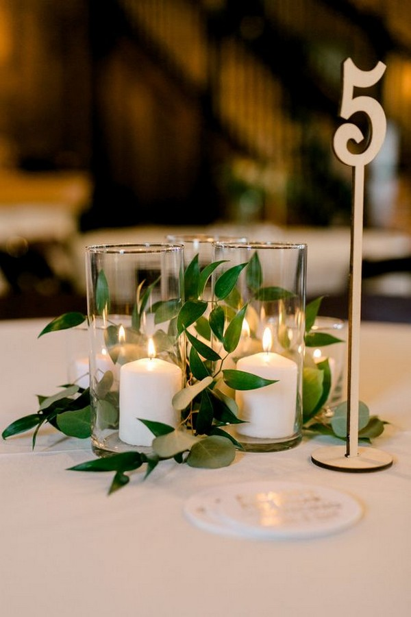 elegant simple wedding centerpiece with candles
