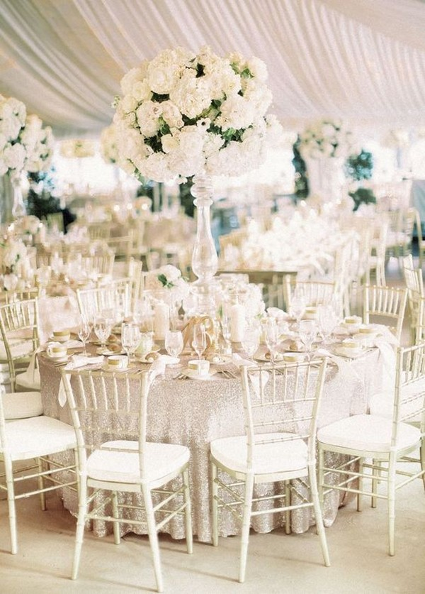 elegant tented wedding reception ideas with tall centerpieces