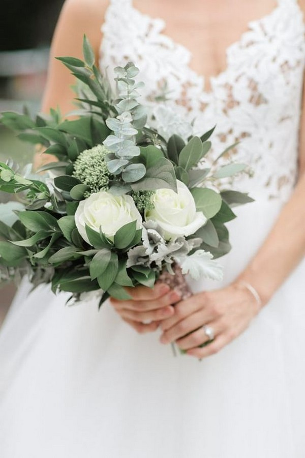 eucalyptus and white roses small simple wedding bouquet