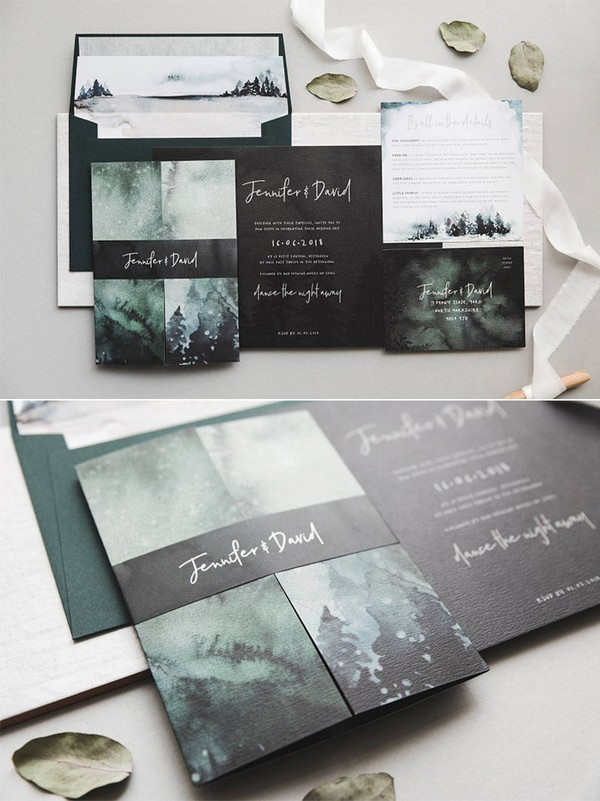 forest green and black winter wedding invitations