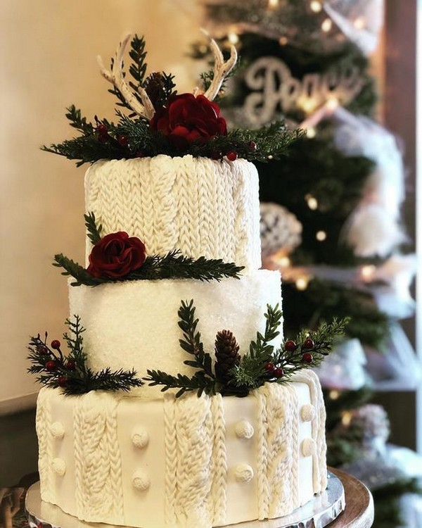 gorgeous cable-knit winter wedding cake