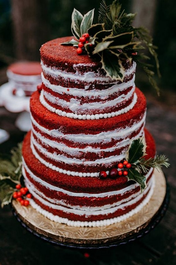 gorgeous red winter wedding cake