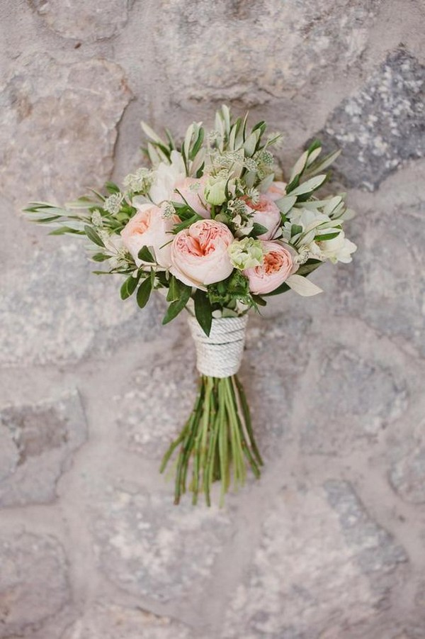 greenery and blush small wedding bouquet