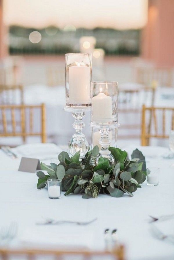 greenery and candles wedding centerpiece ideas