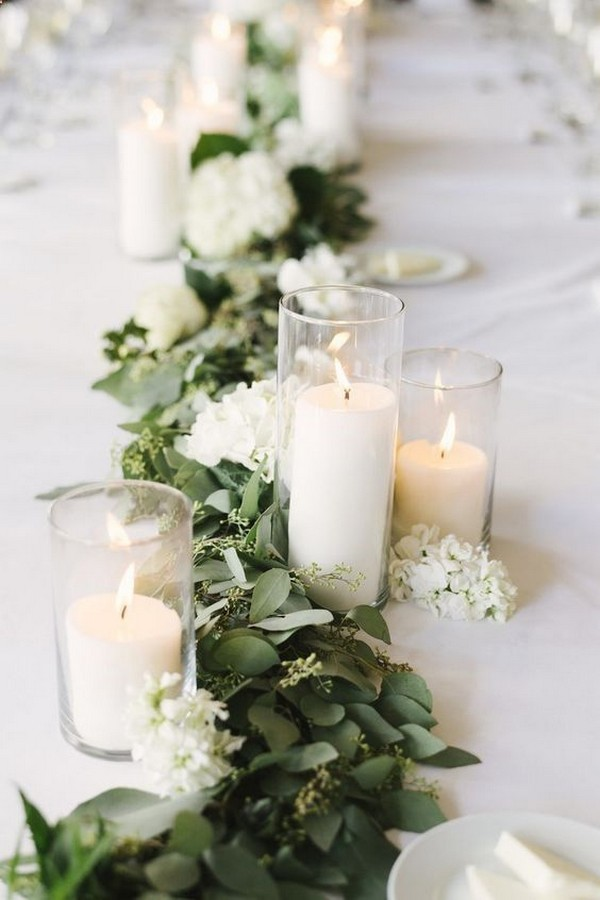 greenery and candles wedding garland ideas