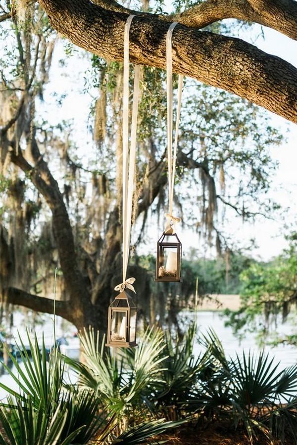 hanging lanterns outdoor wedding decoration ideas