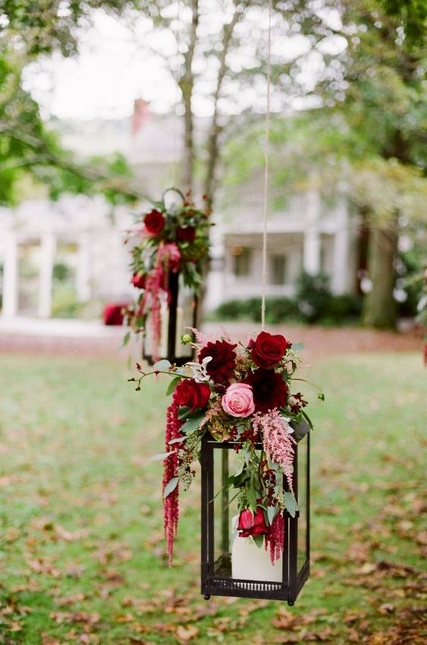hanging lanterns wedding decoration ideas with flowers