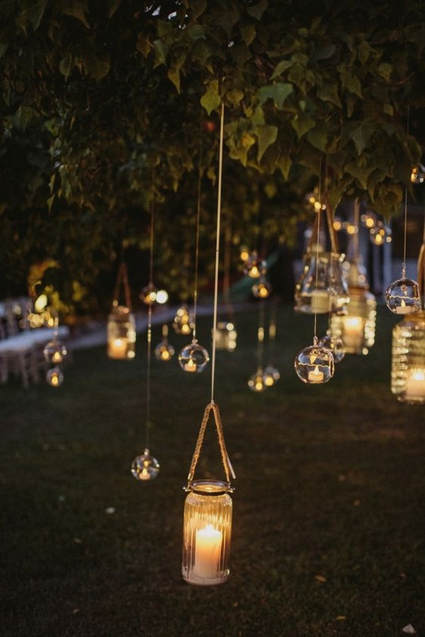 hanging lights wedding decoration ideas