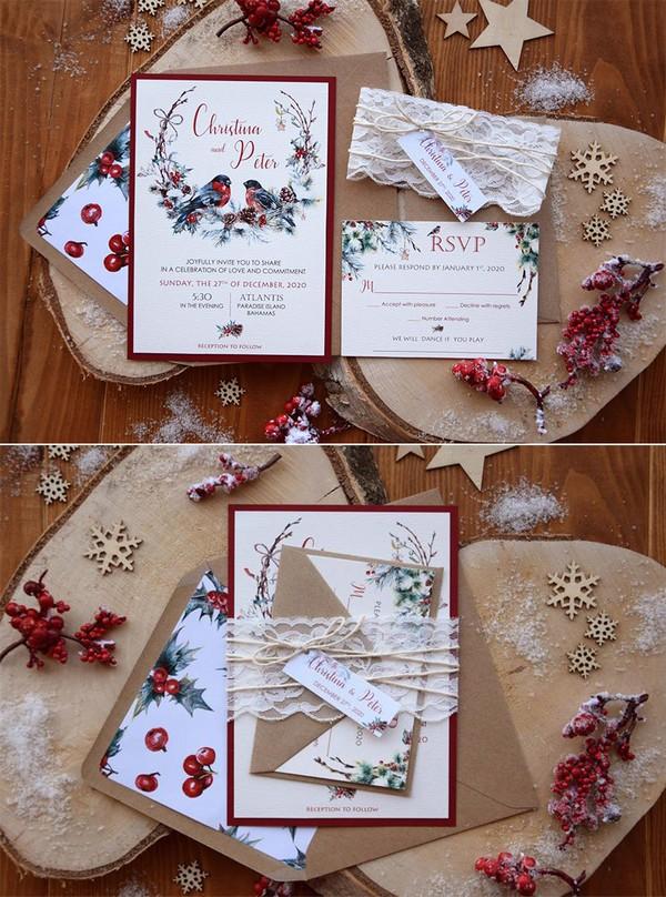holiday themed winter wedding invitations
