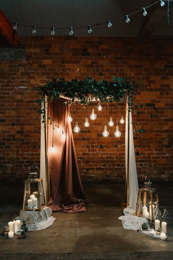 industrial wedding backdrop ideas with lights