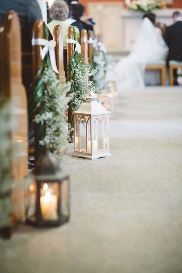 lanterns and baby's breath wedding aisle decoration ideas