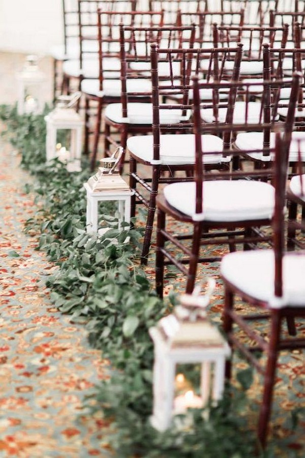 lanterns and greenery wedding aisle decoration ideas