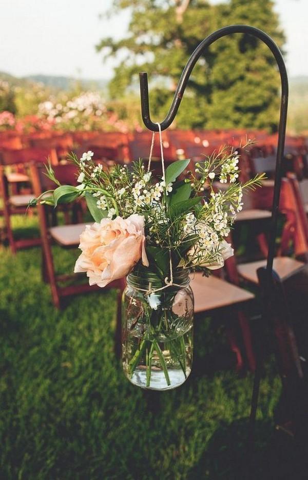 mason jars wedding ceremony aisle decoration ideas