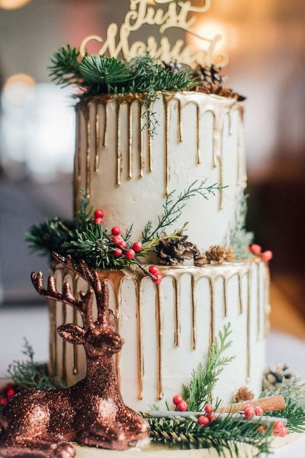 metallic gold dripped winter wedding cake