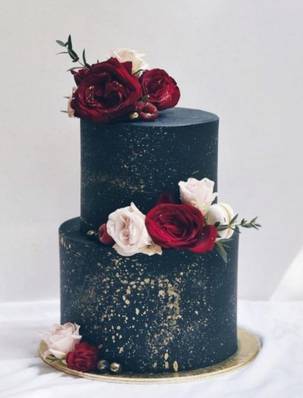 navy and burgundy winter wedding cake