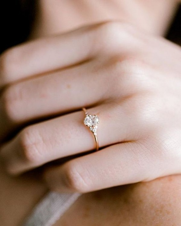 oval diamond simple classic engagement ring