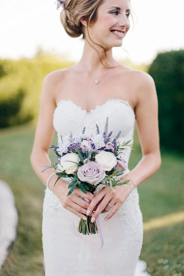 petite lavender and white bridal bouquet