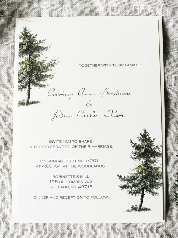 pine tree simple winter wedding invitations