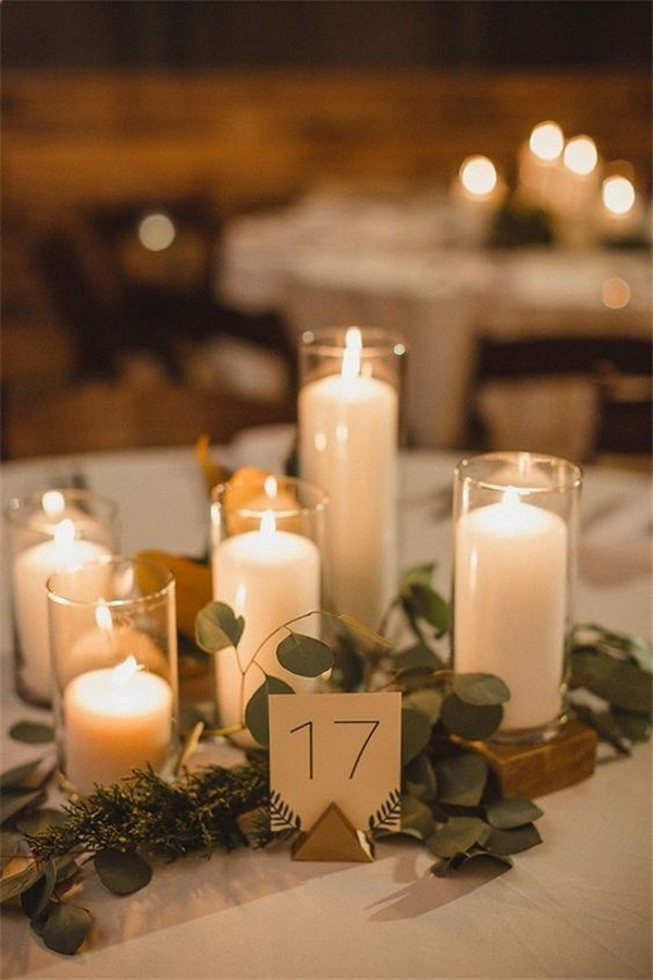 romantic candles wedding centerpiece ideas