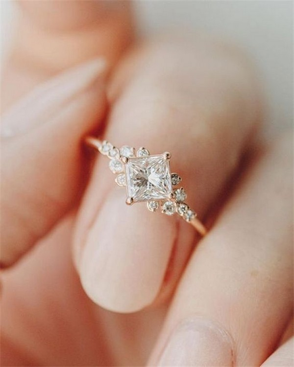 rose gold simple wedding engagement ring