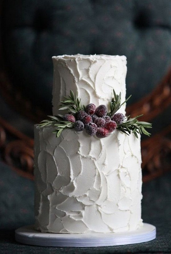 ruffled winter wedding cake with berries