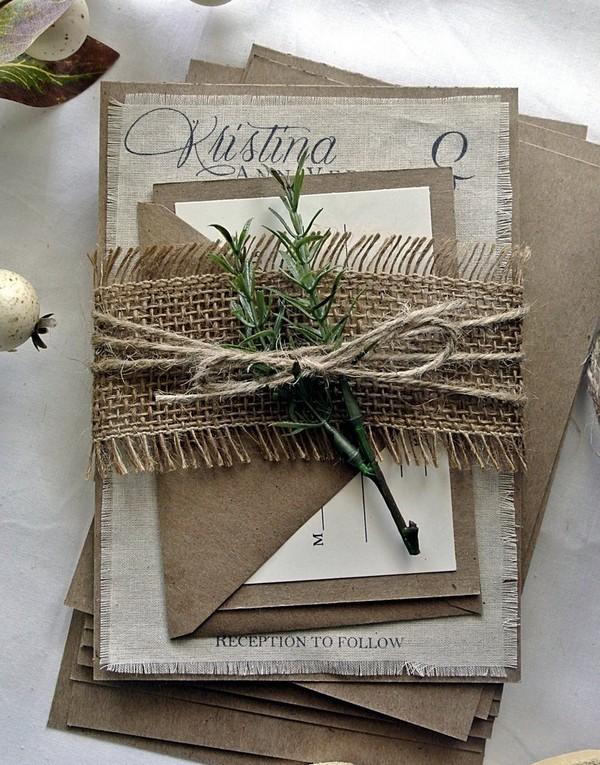 rustic burlap winter wedding invitations