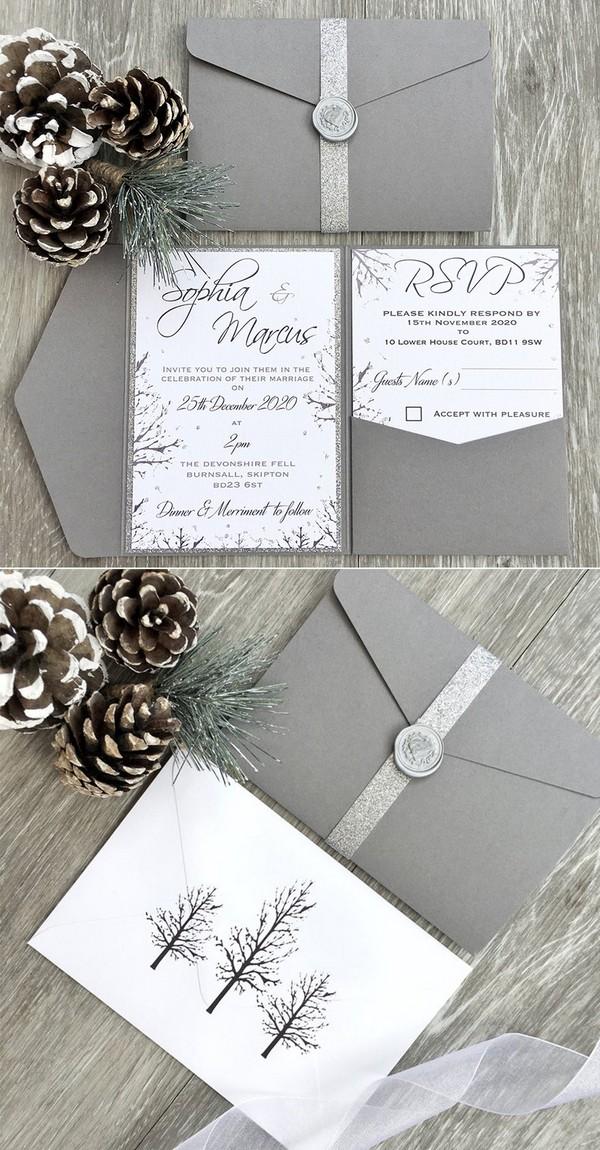 silver winter pocket wedding invitations