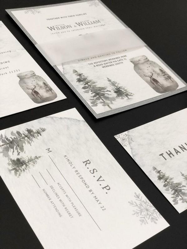 silver wonderland winter wedding invitations