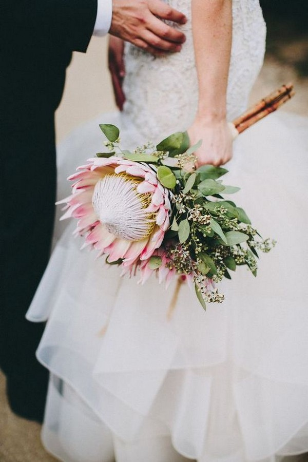 simple protea wedding bouquet