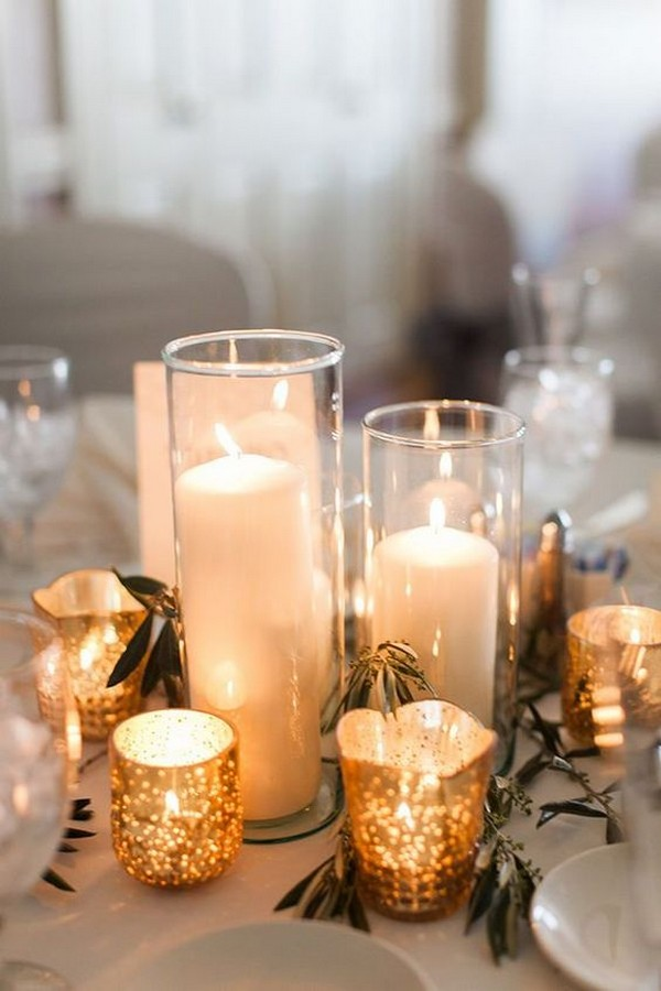 simple romantic candles wedding centerpiece ideas
