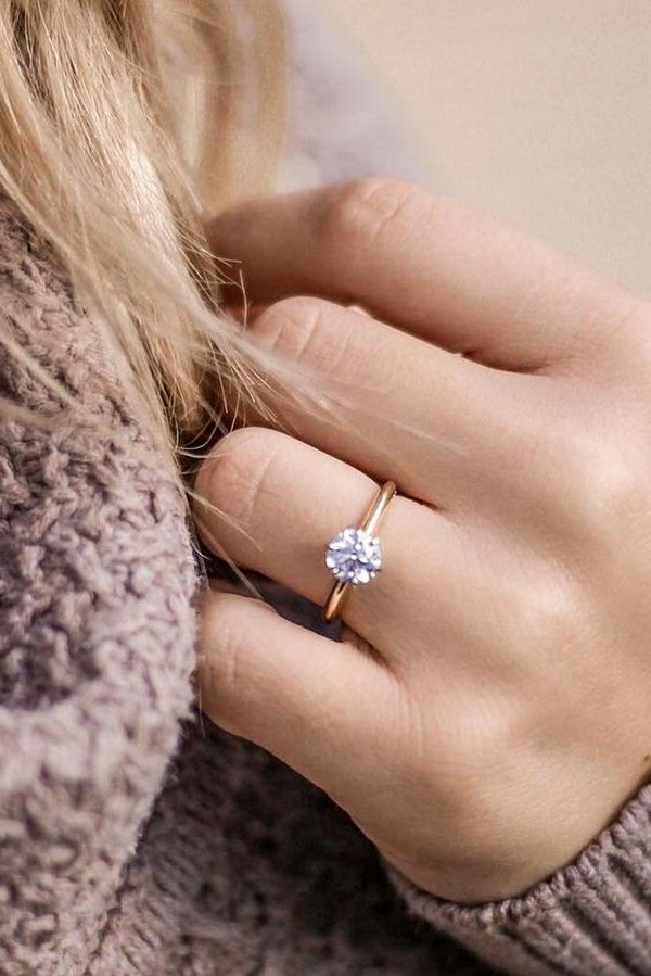 simple round cut wedding engagement ring