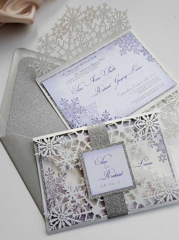 snowflake laser cut winter wedding invitations