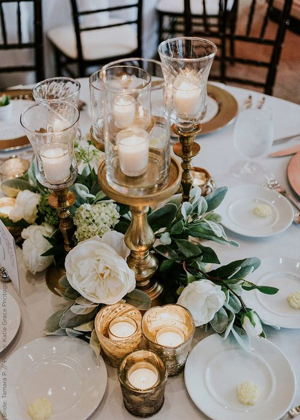 vintage wedding centerpiece ideas with candles