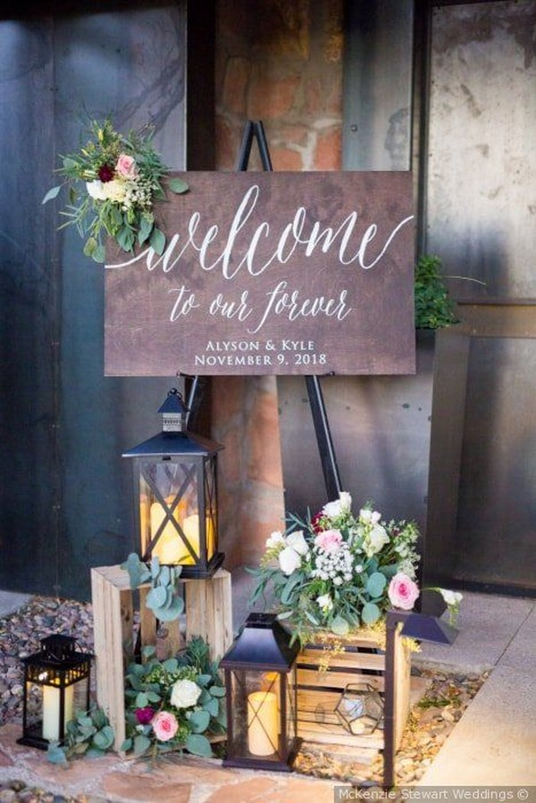 wedding welcome sign entrance decoration with lanterns