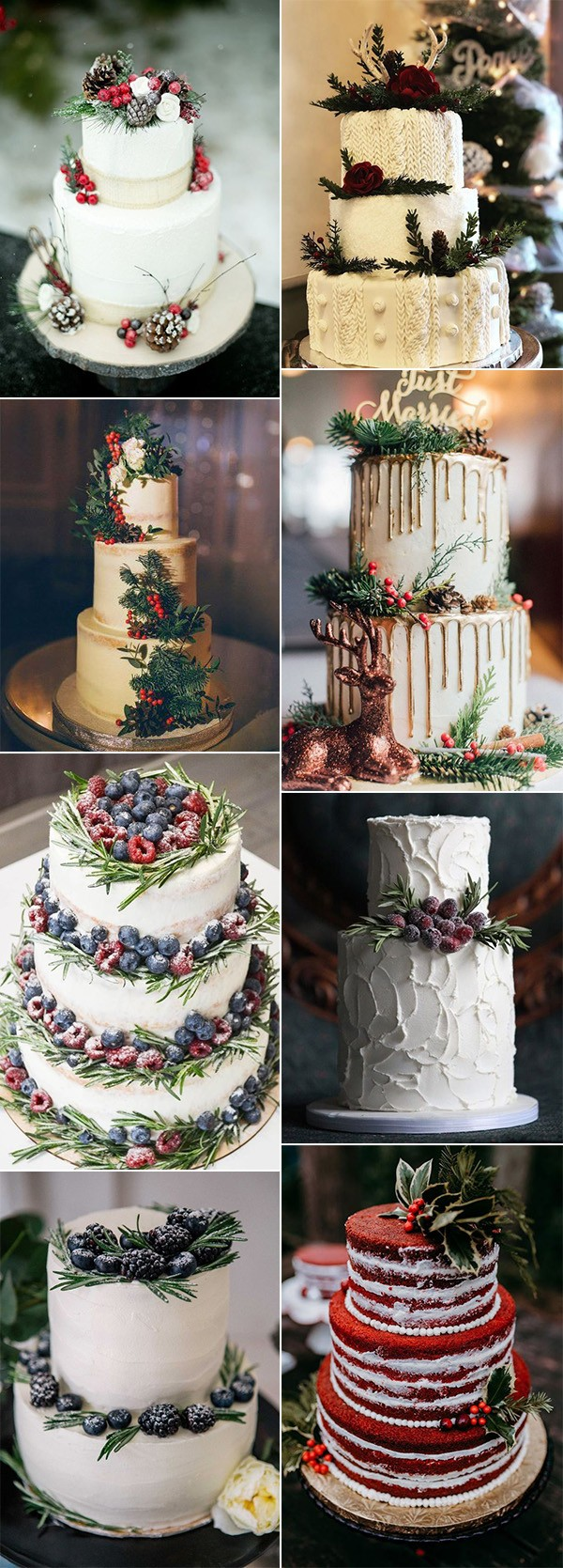 whimsical winter wedding cakes with berries