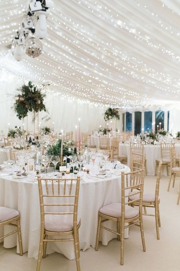 white and gold elegant wedding reception ideas