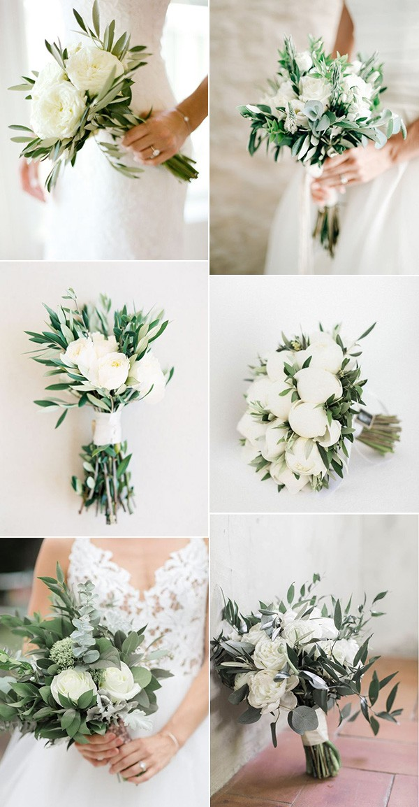 white and green simple petite wedding bouquets