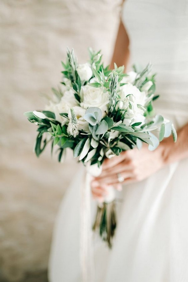 white and greenery small wedding bouquet