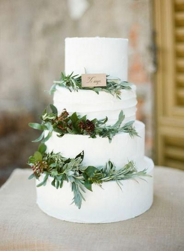white and greenery winter wedding cake