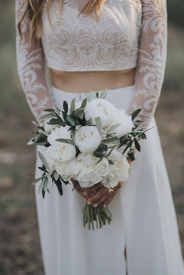 white and sage green wedding bouquet
