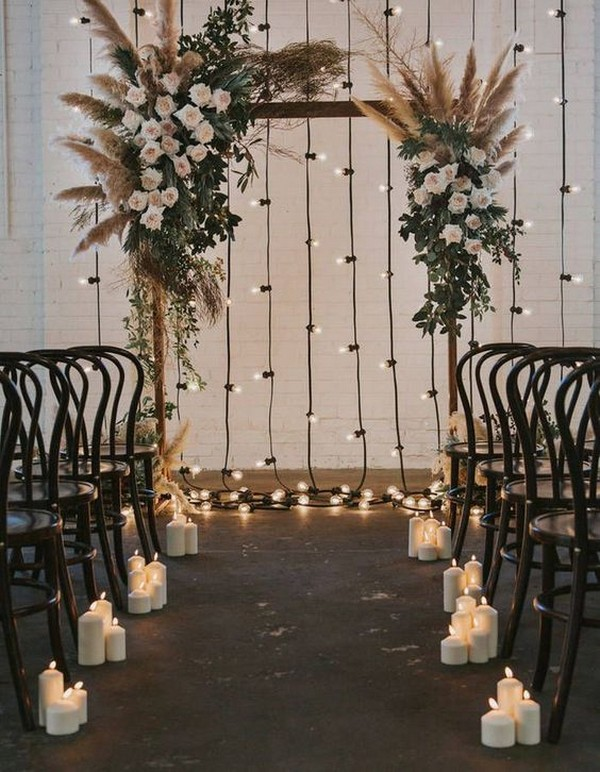 DIY bohemian wedding arch ideas with lights