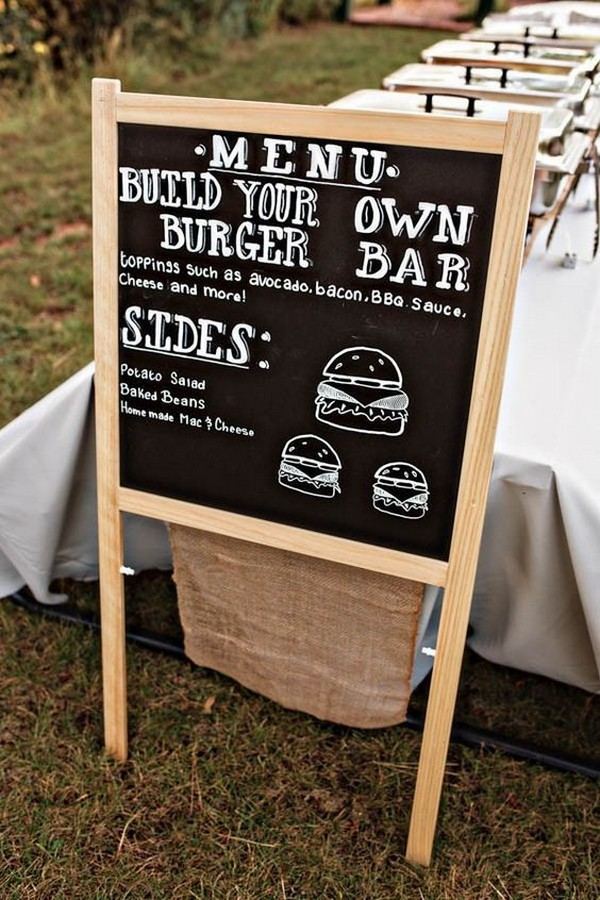 DIY homemade burger bar for backyard wedding ideas