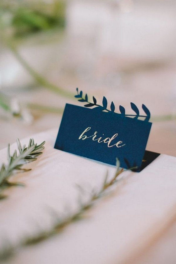 Navy blue bride and groom wedding place cards