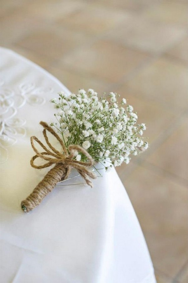Twine & baby's breath wedding boutonniere