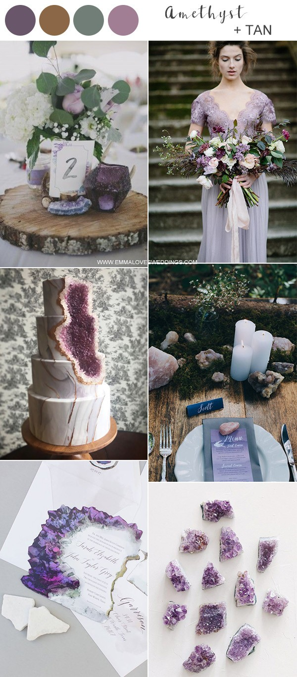 amethyst and tan wedding color ideas