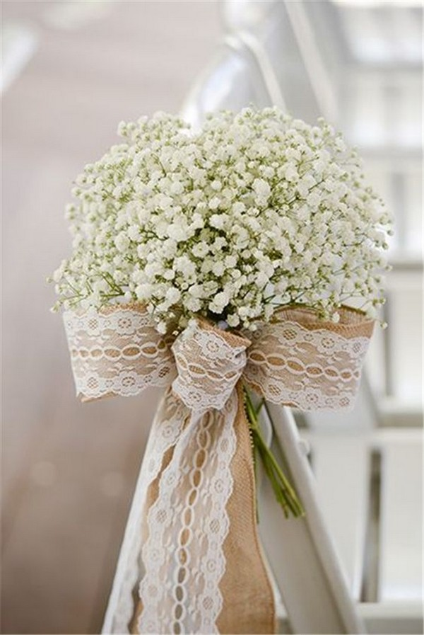 baby's breath and burlap wedding chair decoration ideas