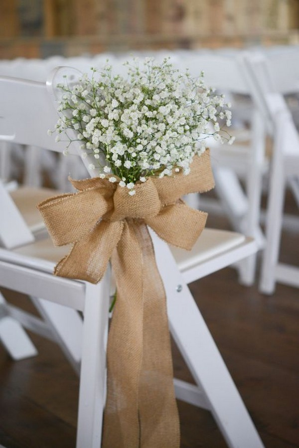 baby's breath and burlap wedding decoration ideas